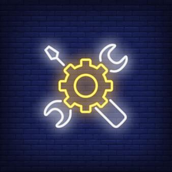 Neon pictogram van mechanische gereedschappen