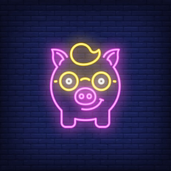 Neon pictogram van piggy nerd