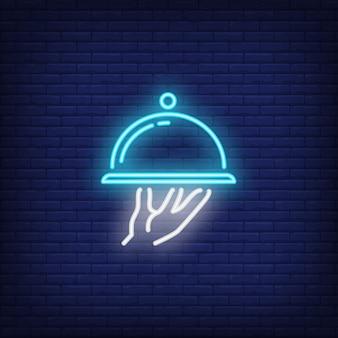 Neon pictogram van schotel