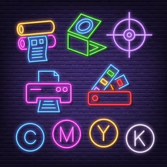 Neon pictogrammen afdrukken