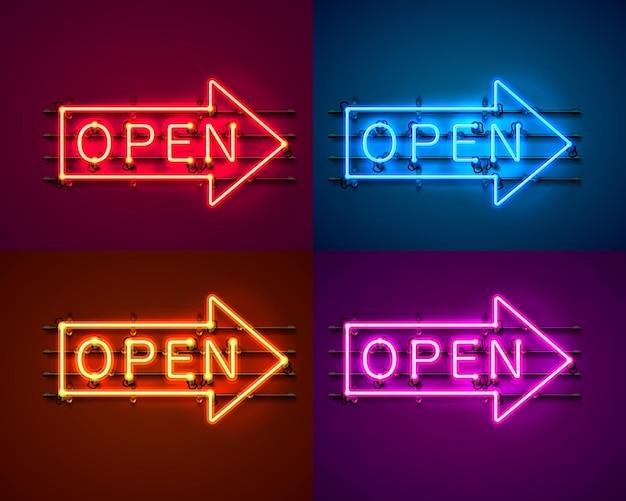 Neon pijl bord met tekst open, ingang is beschikbaar kleurenset. vector illustratie