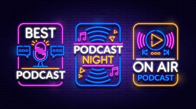 Neon podcast logo-collectie