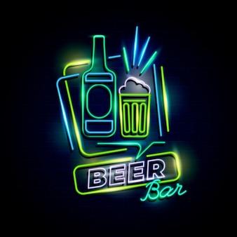 Neon pub of restaurant bord