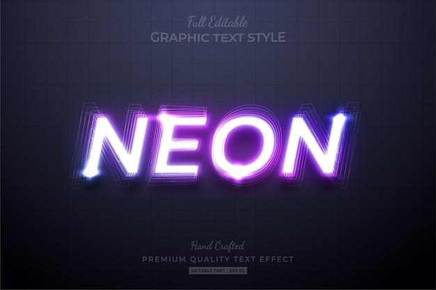 Neon purple bewerkbare eps text style effect premium