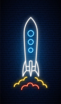 Neon raket teken.