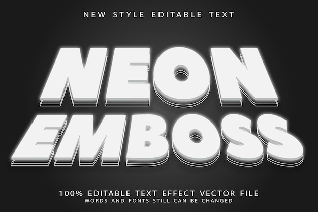 Neon reliëf bewerkbaar teksteffect reliëf neon stijl