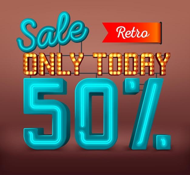 Neon retro verkoop bannertekst te koop en kortingen