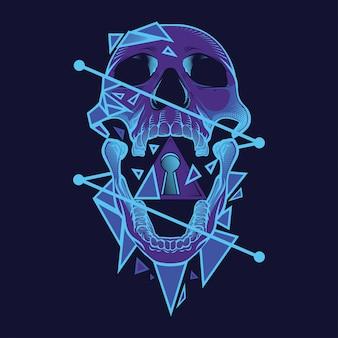 Neon schedel illustratie en t-shirt ontwerp