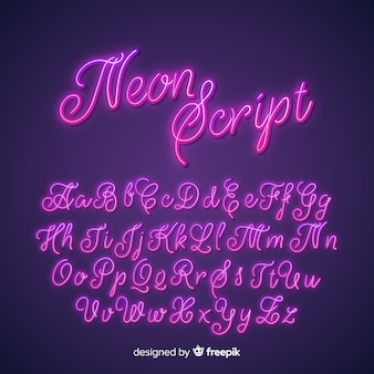 Neon script alfabet
