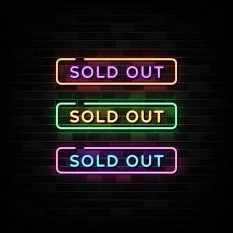 Neon sign sjabloon uitverkocht.