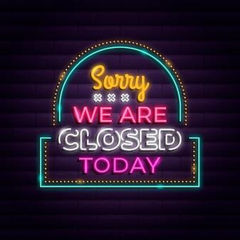 Neon sorry, we zijn gesloten teken Gratis Vector