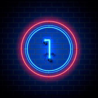 Neon stad lettertype teken nummer 1, uithangbord één. vector illustratie