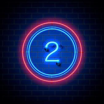 Neon stad lettertype teken nummer 2, uithangbord twee. vector illustratie