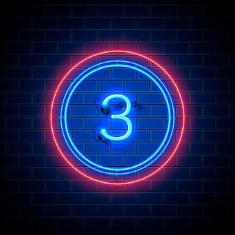Neon stad lettertype teken nummer 3, uithangbord drie. vector illustratie