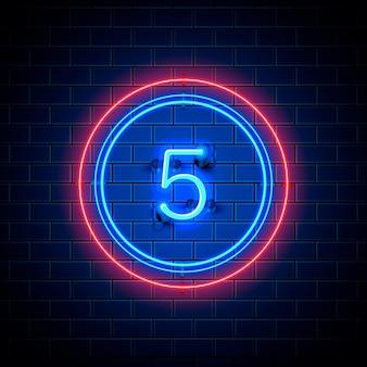 Neon stad lettertype teken nummer 5, bord vijf. vector illustratie