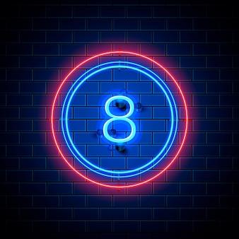 Neon stad lettertype teken nummer 8, bord acht. vector illustratie