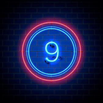 Neon stad lettertype teken nummer 9, uithangbord negen. vector illustratie
