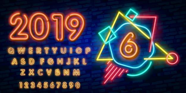 Neon stad lettertype teken nummer zes