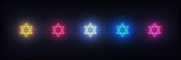 Neon stars of david set, joodse tekendecoraties voor chanoeka