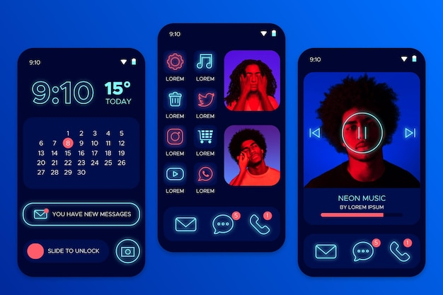 Neon-startscherm met avatar van mensen