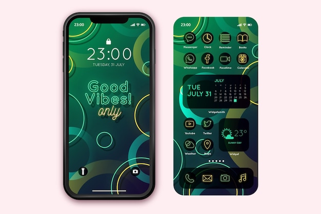 Neon startschermsjabloon voor smartphone