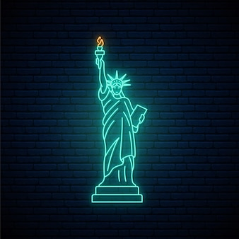 Neon statue of liberty beroemde bezienswaardigheid in new york