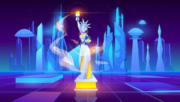 Neon statue of liberty futuristische achtergrond
