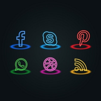 Neon stijl social media iconen pack