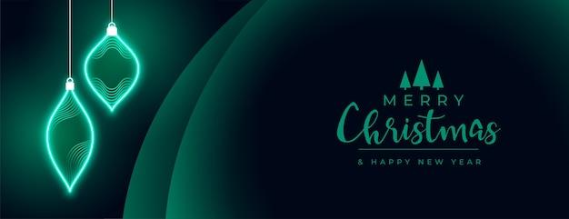 Neon stijl vrolijk kerstfeest banner ontwerp