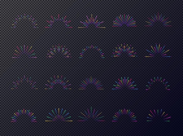 Neon sunburst set kleurrijke stijl geïsoleerd op donkere transparante achtergrond