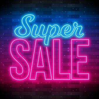 Neon super verkoop teken