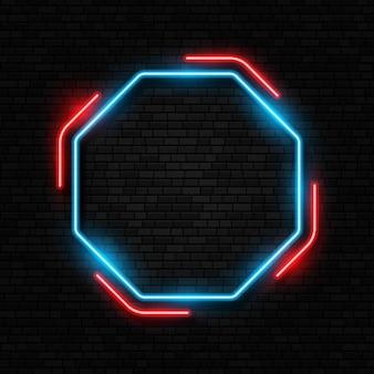 Neon teken geïsoleerd op bakstenen muur achtergrond retro neon teken led of halogeenlamp grens