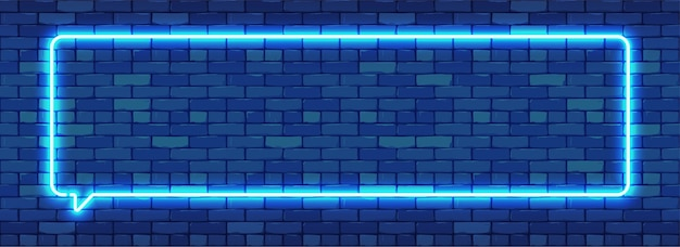 Neon teken in rechthoekige framevorm. fel neonlicht op een donkere bakstenen muur achtergrond.