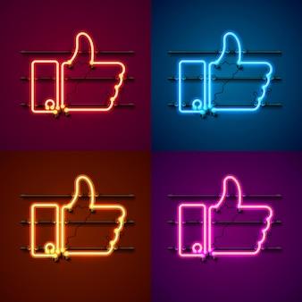 Neon teken kleurenset. sjabloon ontwerpelement. vector illustratie.