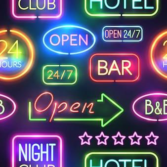 Neon teken naadloze patroon