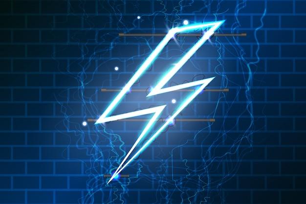 Neon teken van bliksem.