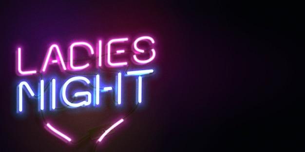 Neon teken van ladies night met kopie ruimte
