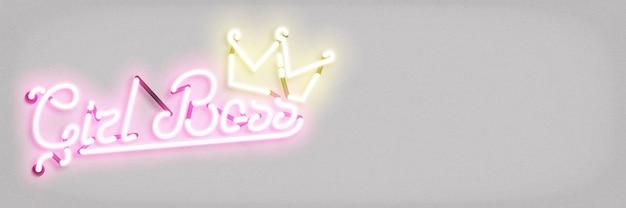 Neon teken van meisje baas concept