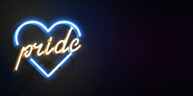 Neon teken van pride heart met kopie ruimte