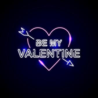 Neon teken voor happy valentine day illustratie ontwerp