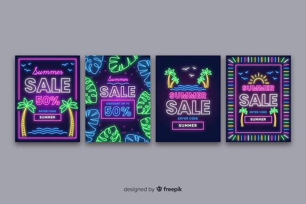 Neon teken zomer verkoop banner pack
