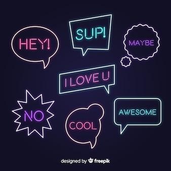 Neon tekstballonnen met verschillende uitdrukkingen