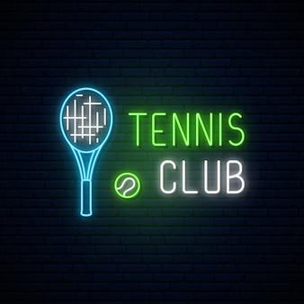 Neon tennisclub teken.
