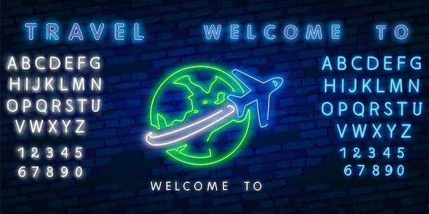 Neon tijd om te reizen en zomervakantie pictogram