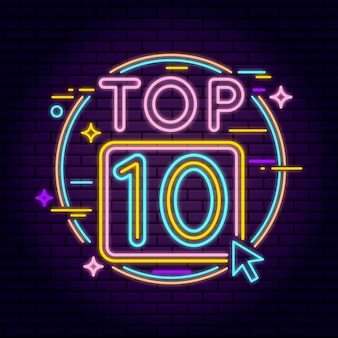 Neon top 10 illustratie
