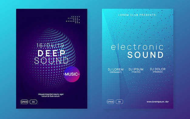 Neon trance evenement flyer set