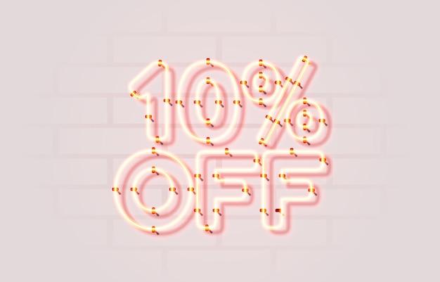 Neon uit verkoop banner bord promotie vector