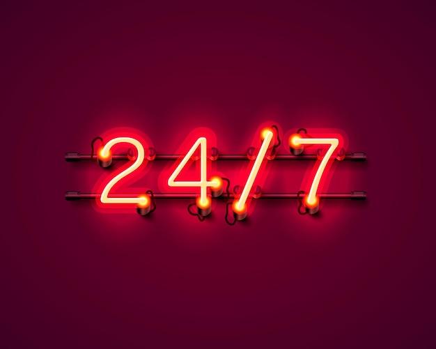 Neon uithangbord 24 7 open tijd. vector illustratie