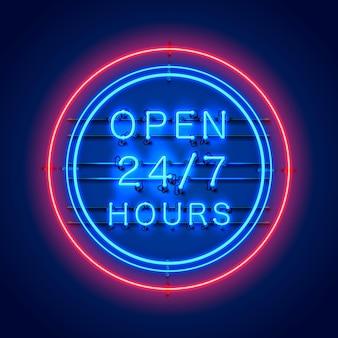Neon uithangbord 24 7 open uren tijd. vector illustratie