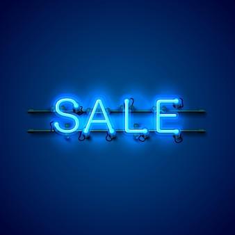 Neon uithangbord tekst verkoop op de blauwe achtergrond. vector illustratie
